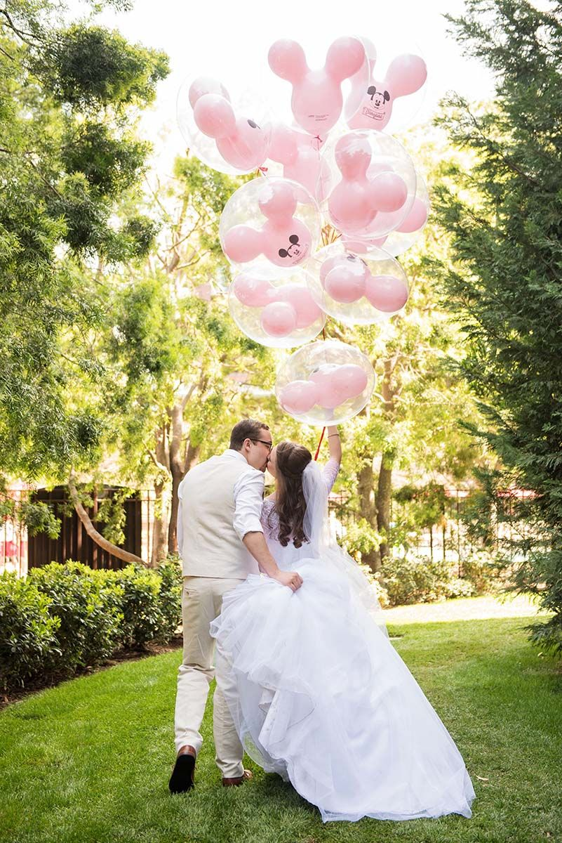 An Adorable Shot With Pink Mickey Mouse Balloons: Mickey Mouse Wedding Dress At Reisefeber.org