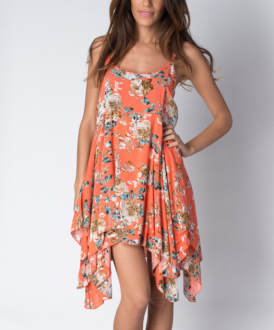f1c82115755 This Orange Floral Handkerchief Dress by Paradise USA Fashion is perfect!   zulilyfinds