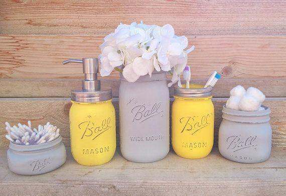 Photo of Yellow and Grey Bathroom Decor, Yellow and Gray Mason Jar Bath Set,Yellow and Grey Bathroom, Yellow and Grey,Yellow and Grey Bathroom Decor