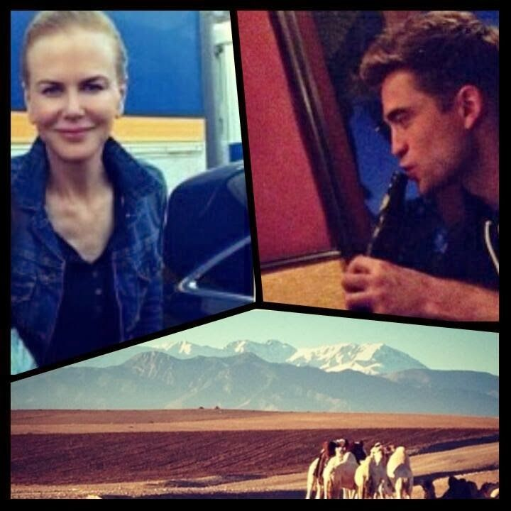 Robert Pattinson and Nicole Kidman pics from last week on location in Morracco for Queens of the Desert