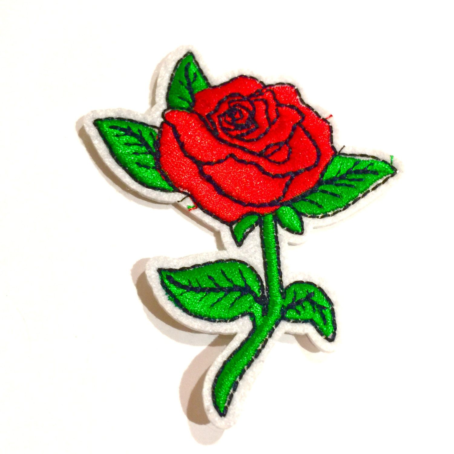 Red Rose Iron On Patch, Vintage Patches, Tattoo, Flower