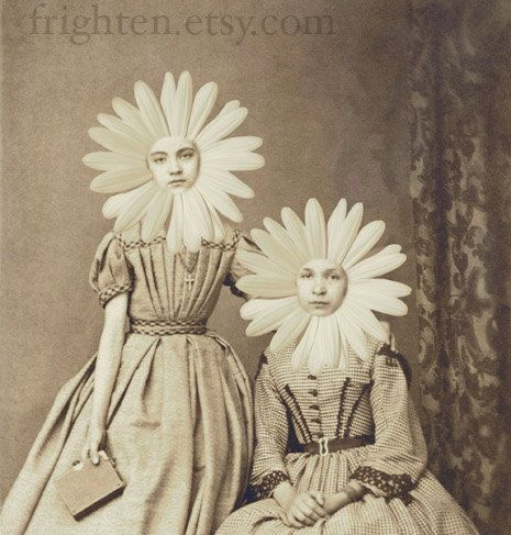 Altered Antique Portrait of Two Sisters, Flower Girls, 5x7 Print. $15.00, via Etsy.