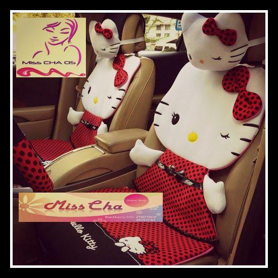 Pin Di Sarung Jok Mobil Motif Kartun Hello Kitty Tiga Dimensi Polkadot Merah