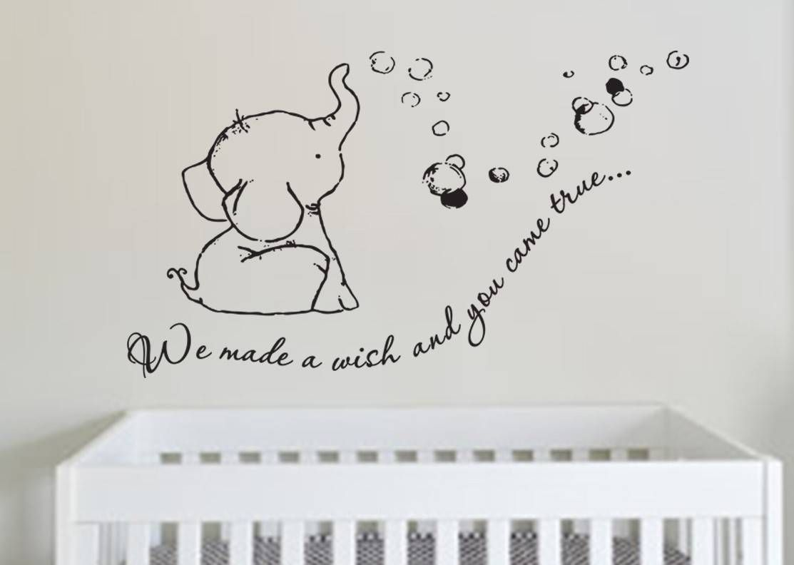Adorable We Made A Wish Baby Elephant Wall Decal Sticker For - Nursery wall decals elephant