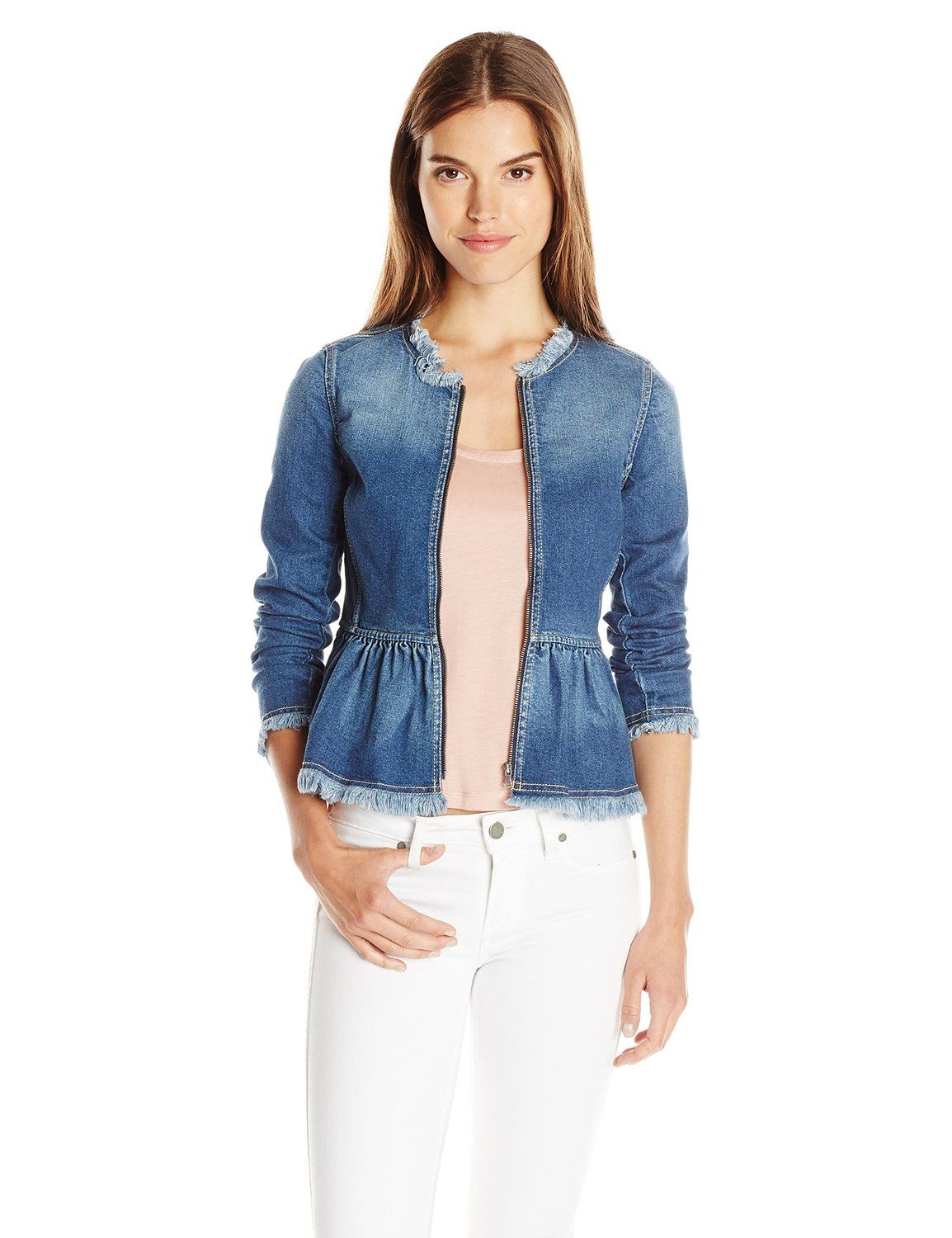 Rebecca Taylor Women's Denim Peplum Jacket at Amazon Women's Coats Shop