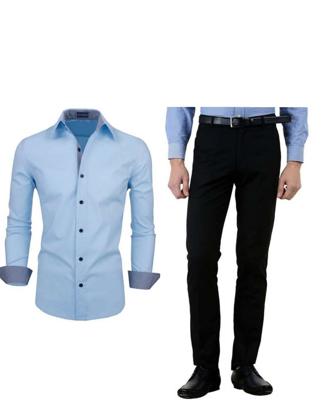 f609e731 Light Blue Dress Shirt Black Pants | Saddha