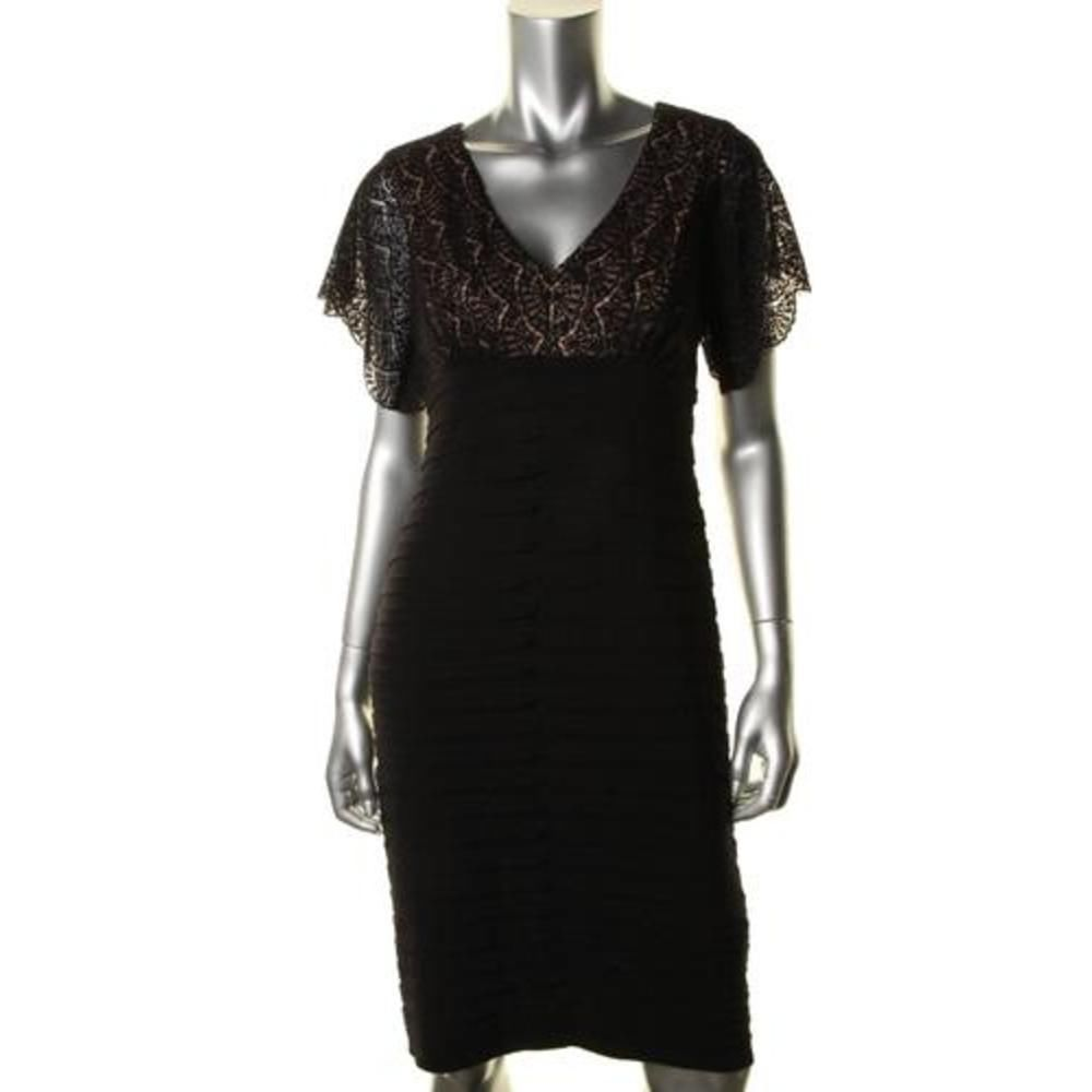 Adrianna Papell NEW Black Matte Jersey Short Sleeves Cocktail Dress 16 BHFO #AdriannaPapell #CocktailDress