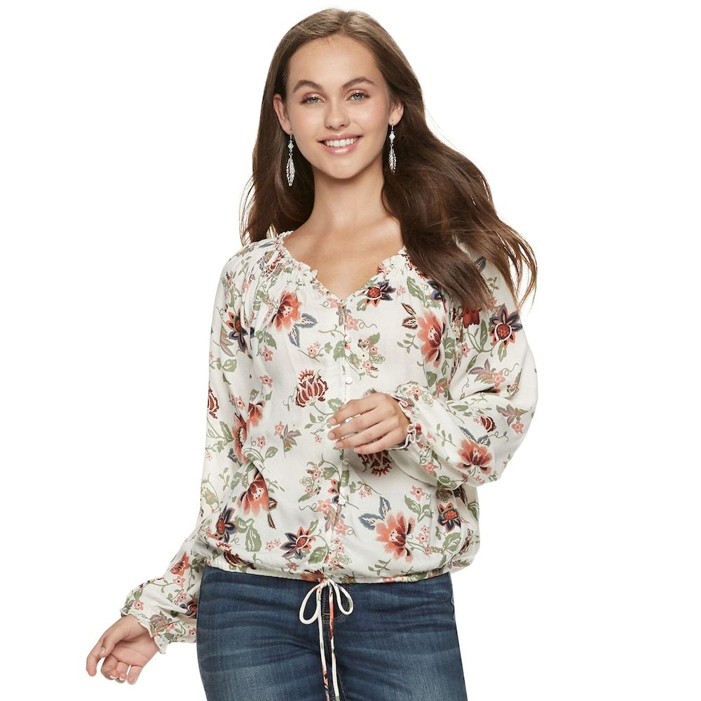 62abd1e5cd9273 Juniors' American Rag Floral Peasant Blouse, Teens, Size: Medium, White