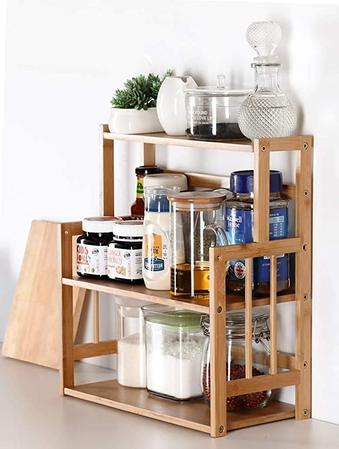 Amazon Com Bamboo Spice Rack Storage Shelves 3 Tier Standing Pantry Shelf For Kitchen Coun In 2020 Kitchen Counter Storage Adjustable Shelf Cabinet Spice Rack Storage