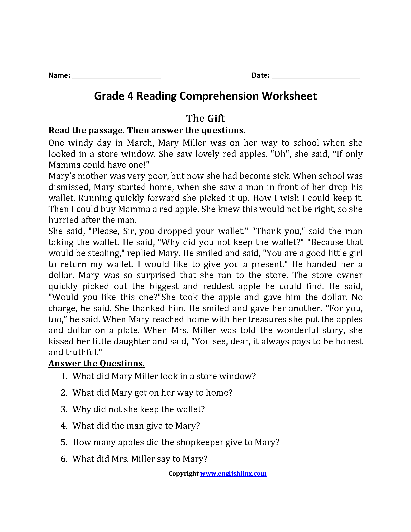 The T Fourth Grade Reading Worksheets