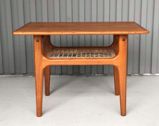 Danish Teak Side Table With Wicker Shelf Teak Side Table Ottoman Coffee Table Wicker Shelf