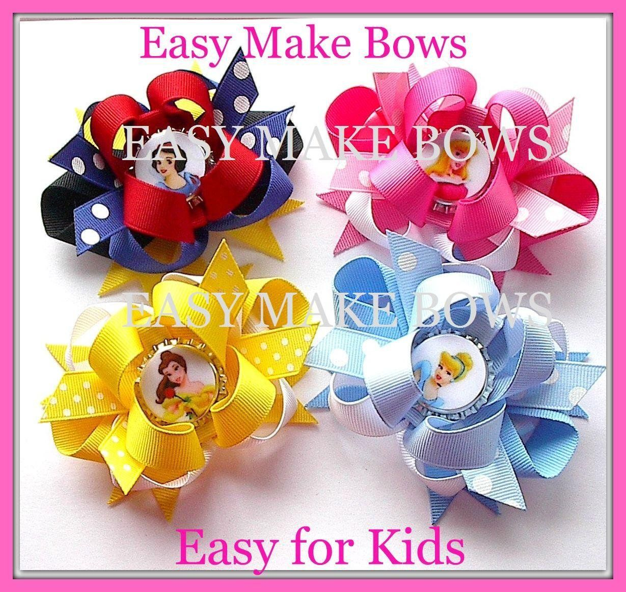 Amazon Com Kids Craft Party Princess Bottle Cap Bows How To Make Hair Bow Instruction Assembly Kit With Rib Making Hair Bows Princess Crafts Kids Party Crafts