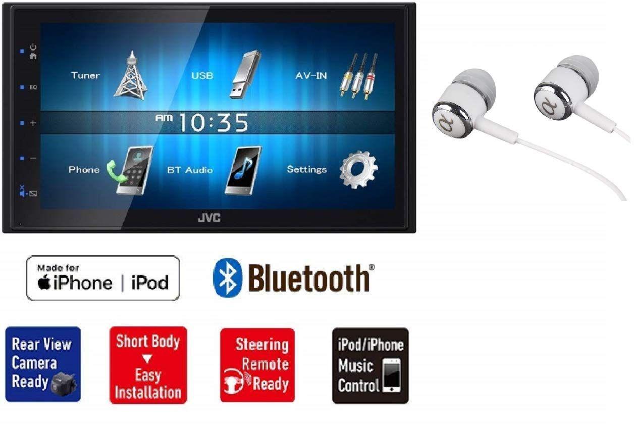 Jvc Kw M24bt 6 8 Double Din Built In Bluetooth Usb Mp3 Ipod Iphone Am Fm Radio Touchscreen Blue Key Illumination Dual Phone Co Jvc Car Stereo Iphone Bluetooth