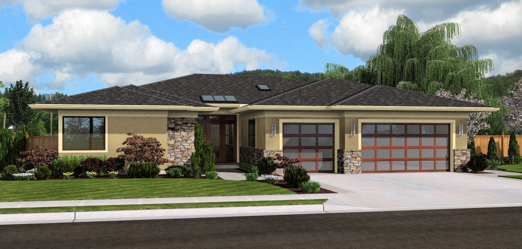 Mascord plan 1245 the riverside hoodriver homes for Contemporary ranch style house plans