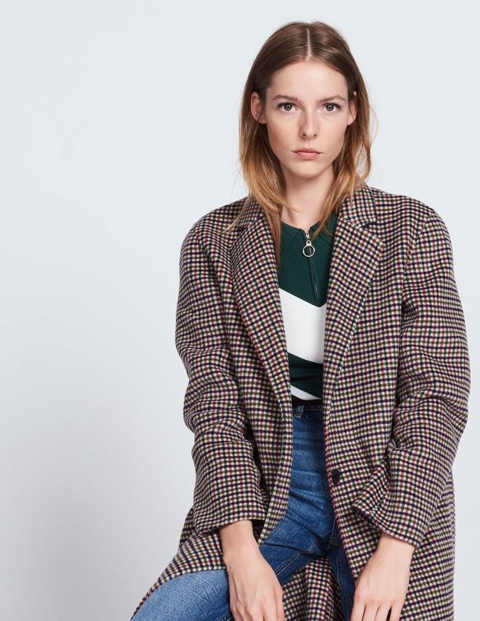 Wool and cotton coat with printed checks | Blazer fashion