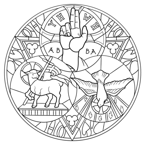 Holy Trinity coloring page from Stained glass category