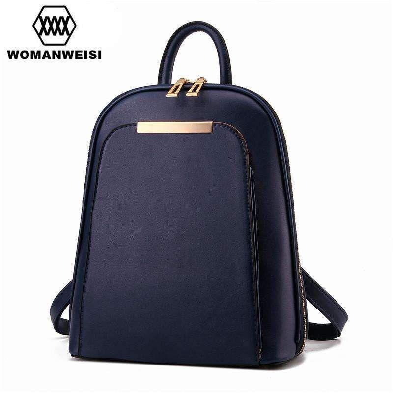 80b9bae2ff03 Fashion Simple Style Women Backpacks High Quality Leather School Bags  Satchel Brand Design Female Backpack 2017 Rucksack Youth