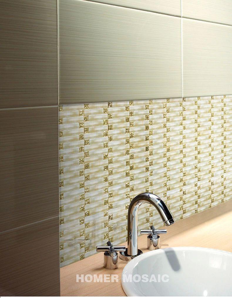 Aliexpress.com : Buy 3D Crystal Glass mixed Gold Foil Mosaic Golden ...