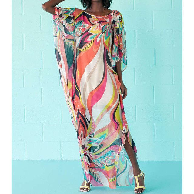 e717fe6b8c0 Women Kaftan Beach Dress Summer Covers Up Pareos Sarongs Sexy Chiffon Bikini  Printed Cover-Up