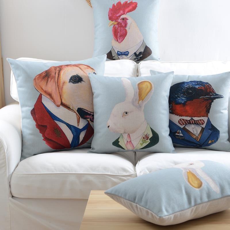 """18 """" quadrados de animais de algodão de linho capa de almofada Ikea sofá cadeira carro casa decorativo jogar travesseiro fronha almofadas alishoppbrasil"""