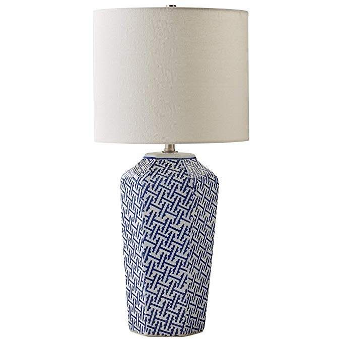 Stone Beam Geo Pattern Ceramic Nightstand Table Lamp With Led Light Bulb 12 X 12 X 26 Inches Blue And White Lamp Led Light Bulb White Lamp Shade