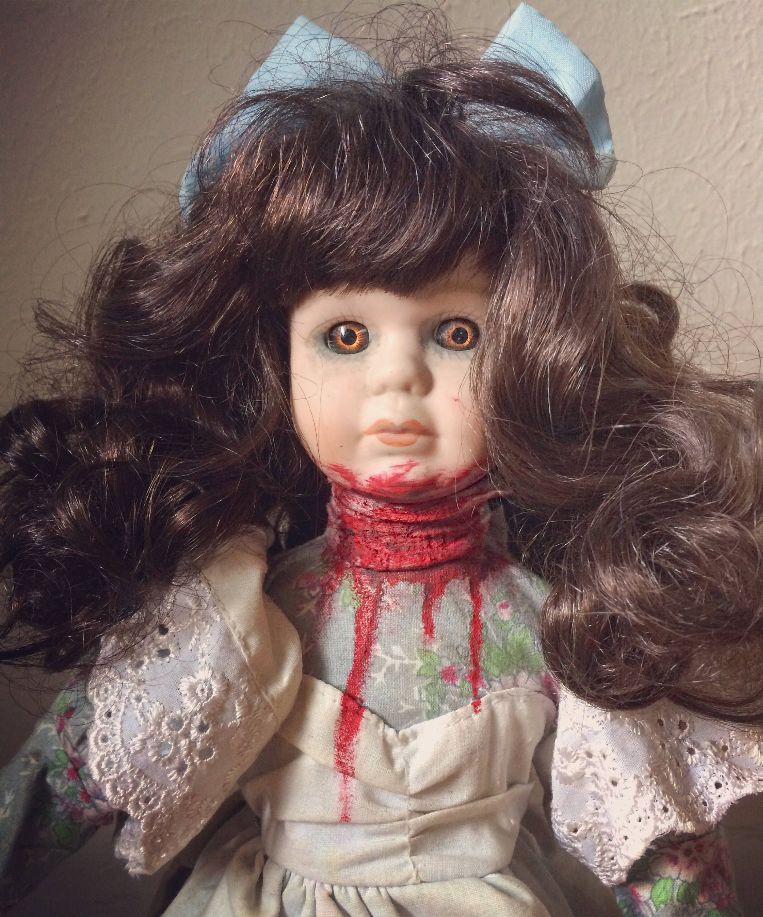 painted doll possessed doll OOAK Doll haunted doll scary doll porcelain doll Halloween doll doll collector Horror Doll