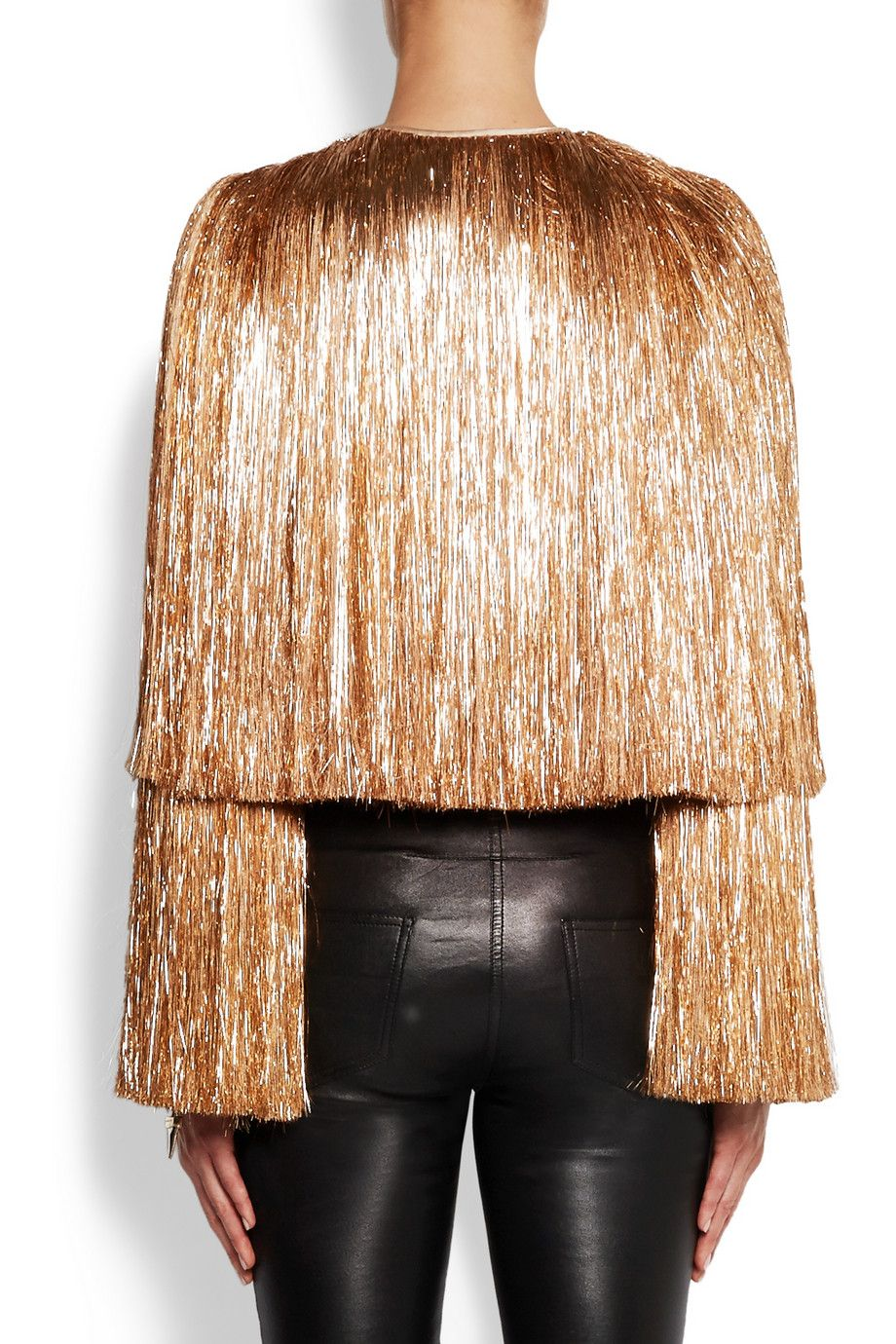 Givenchy Fringed jacket in gold silk-satin NET-A-PORTER.COM