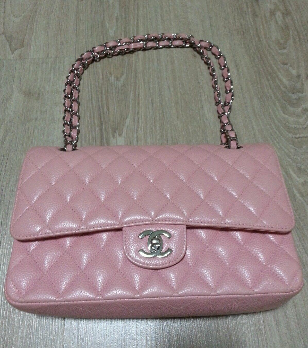 3f05fb266e21 Authentic Classic Chanel Pink Caviar Medium Silver HW Double Flap Bag