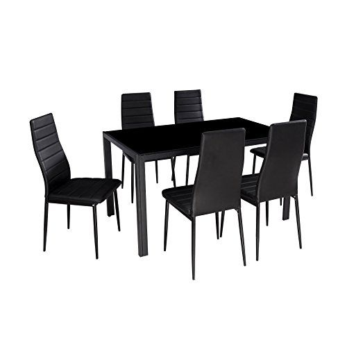 Ids Home 7 Piece Modern Glass Dining Table Sets Table And Chairs