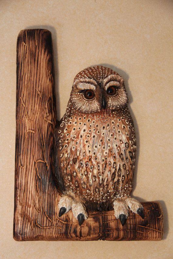 Wood carving bird carving owl wall art wood carving owl