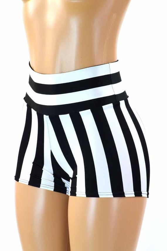 62324e16e1 Black & White Jailbait or Referee Striped Print High Waist Pinup Shorts  151221