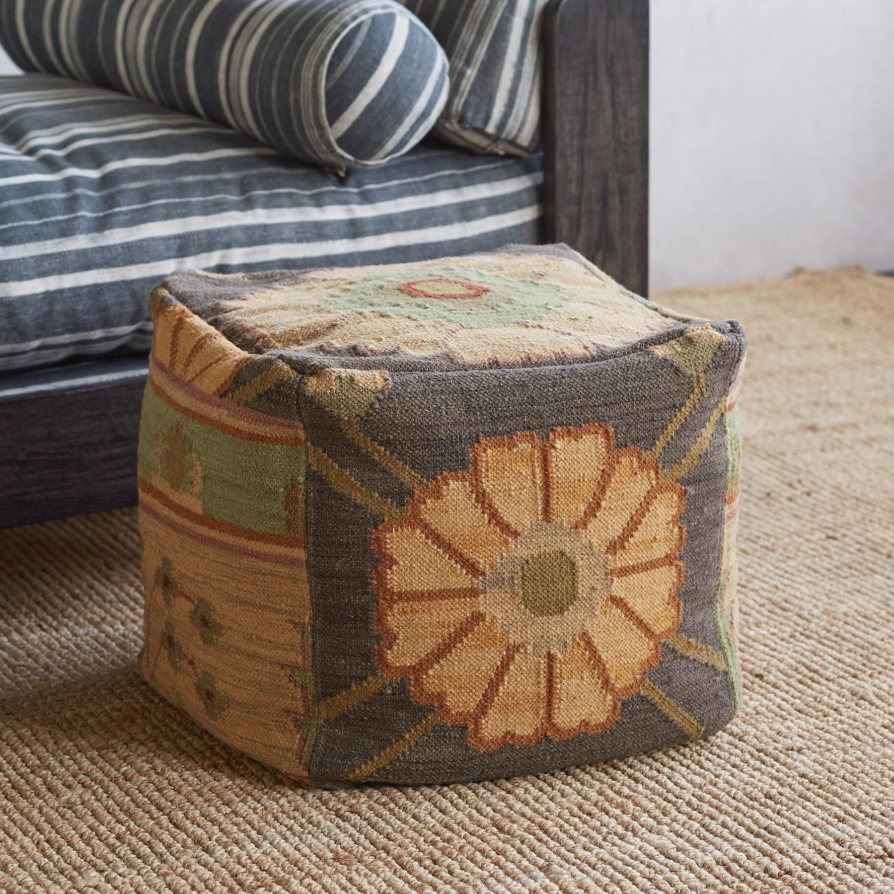 Kismet Kilim Pouf In 2020 Kilim Pouf Reclaimed Furniture