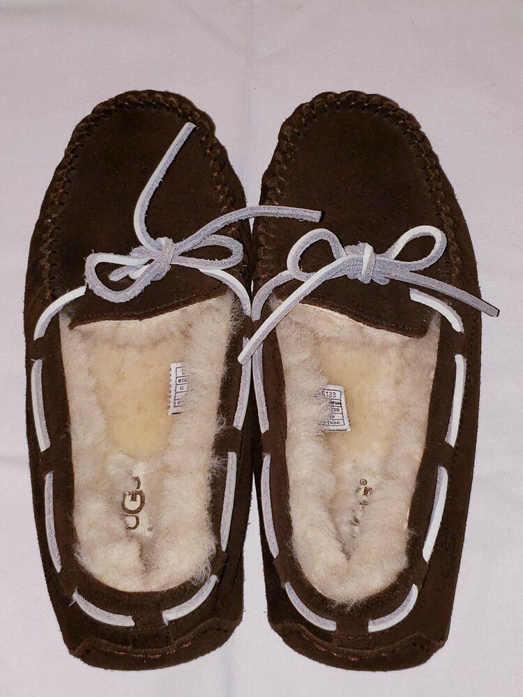 f961ecf7037 eBay Advertisement) UGG Dakota Slippers Moccasins Chestnut Sheepskin ...