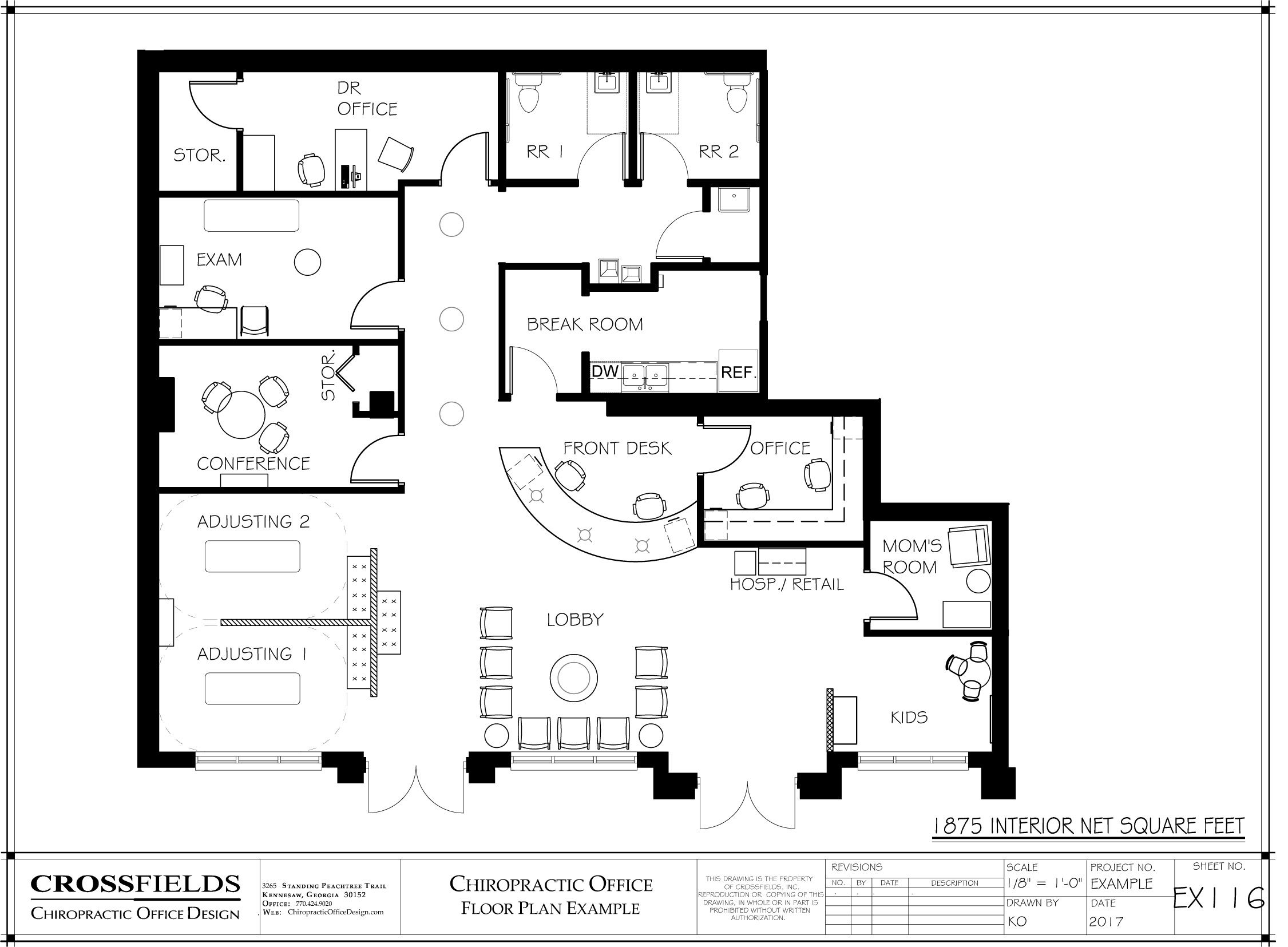 Chiropractic Family Centered Clinic Floor Plan Example With Semi Open  Adjusting Doctors Office Small Exam