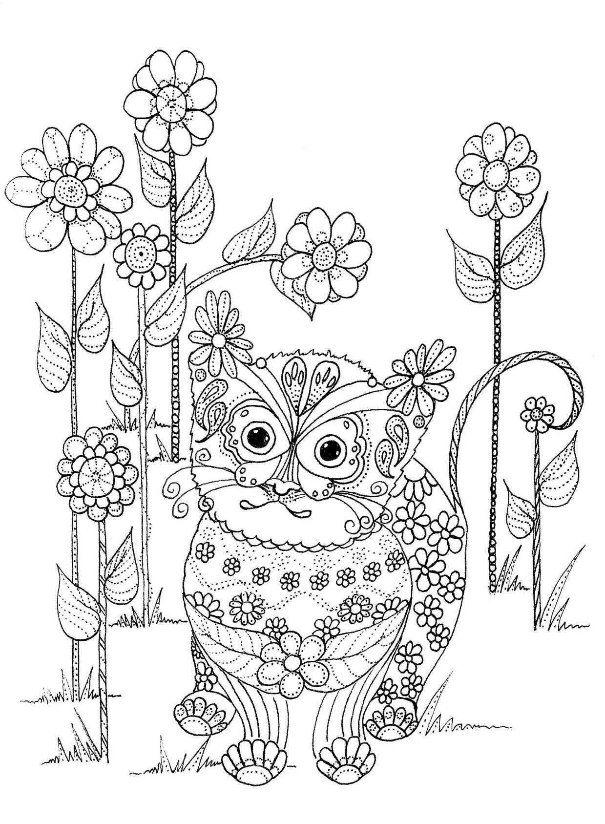 Coloring book kittens - Kitten And Flowers Coloring Page