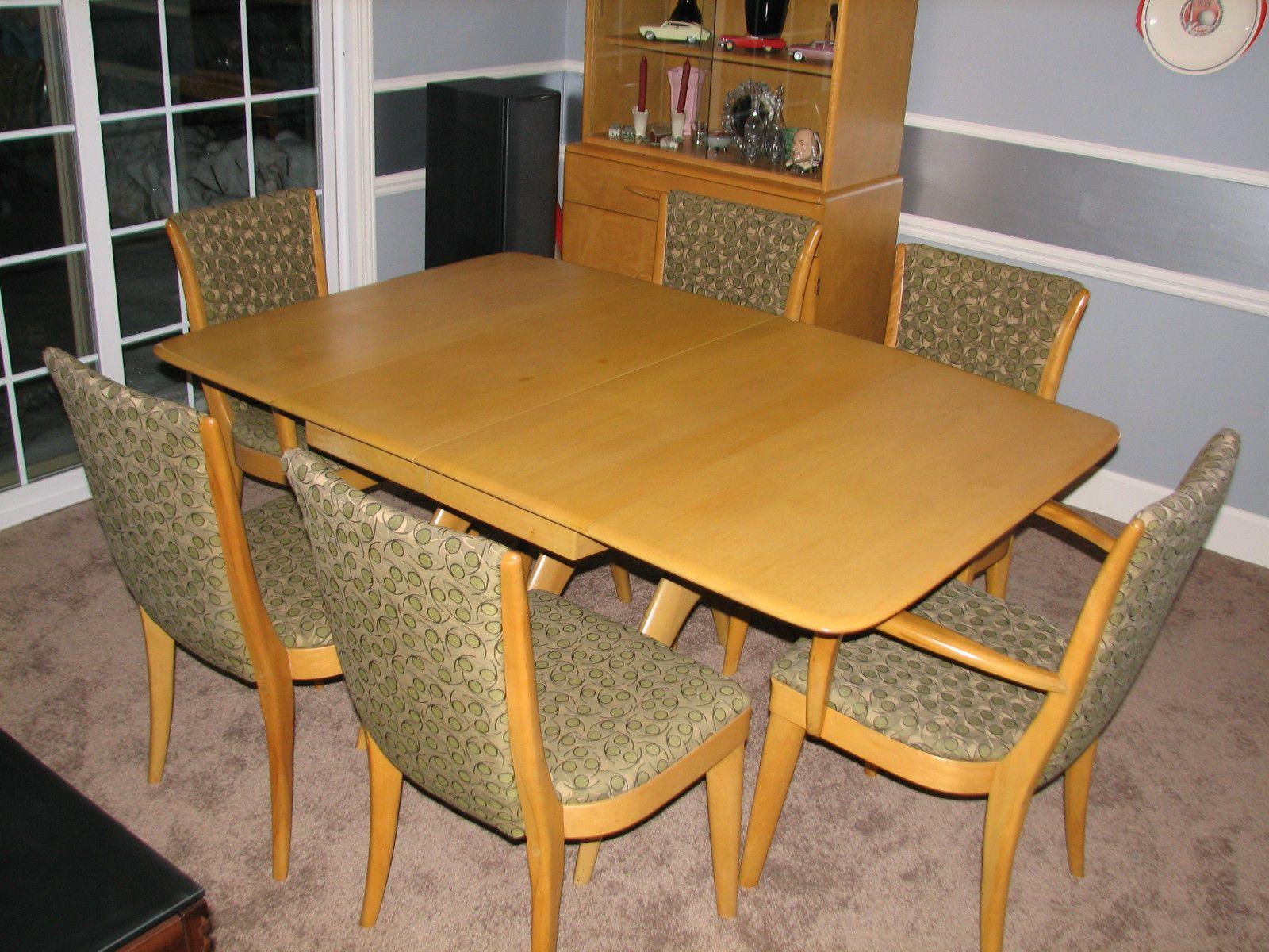 Heywood Wakefield Dinning Table Chairs Wheat Original Finish Mid