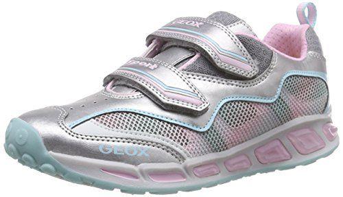 Geox J SHUTTLE GIRL B, Mädchen Sneakers, Mehrfarbig (SILVER/PINKC0566),