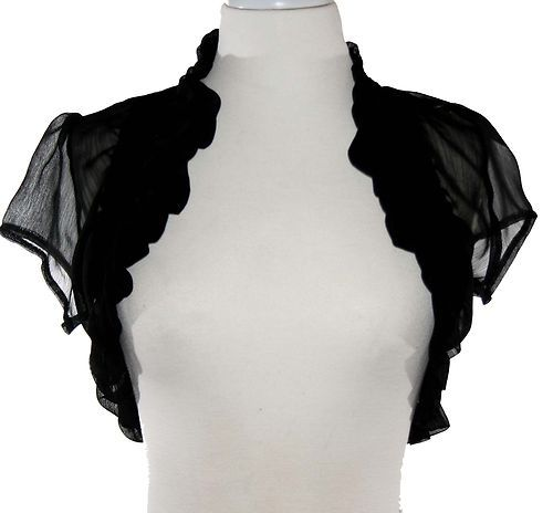 Black Sheer Ruffled Bolero Jacket Short Sleeve Wedding/Bridal ...