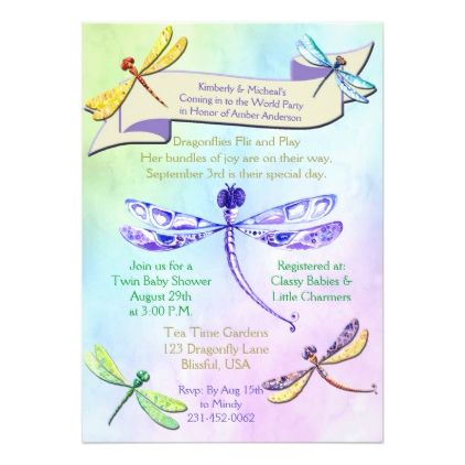 Pastel Jewel Tone Dragonfly Baby Shower Invite