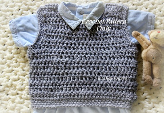 5c56dbf9 Baby Boy Pullover Vest, Crochet Pattern, Size 3-6 Months, Easy to Crochet,  Instant PDF Download