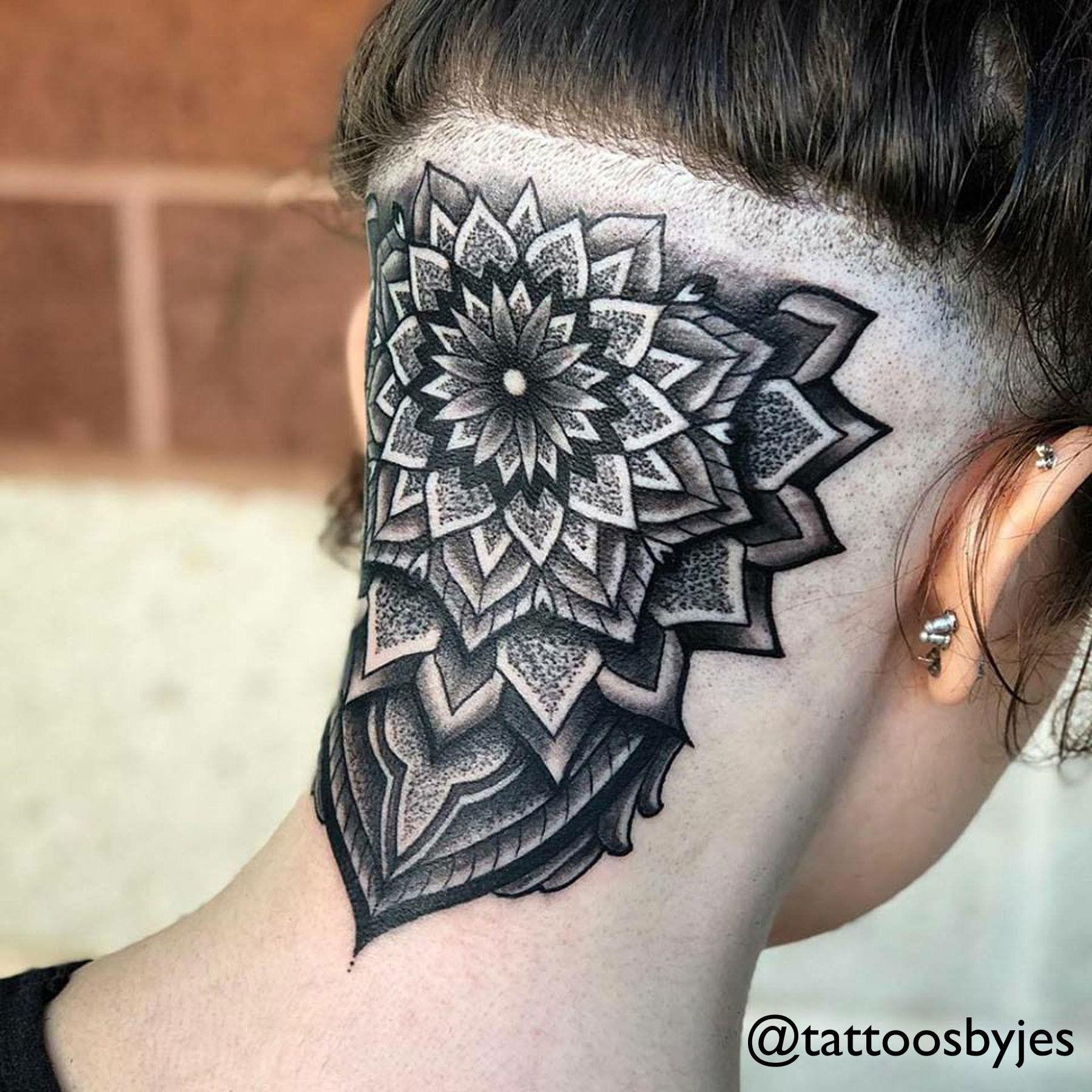 Yes Beautiful Mandala Head Neck Tattoo Neck Tattoo Tattoo Artists Tattoos