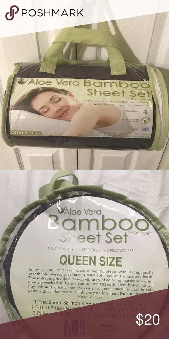 Aloe Vera Bamboo Sheet Set Queen Size Nwt My Posh Closet