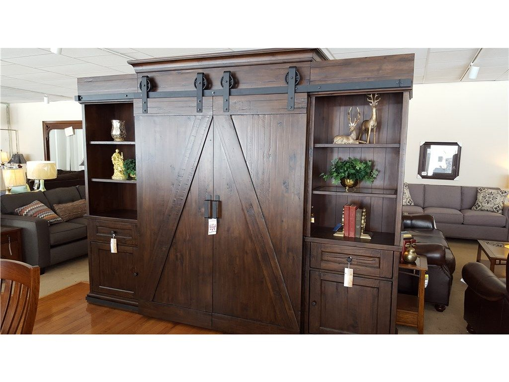 Magnussen Living Room Sliding Barn Door Tv Entertainment Center ...