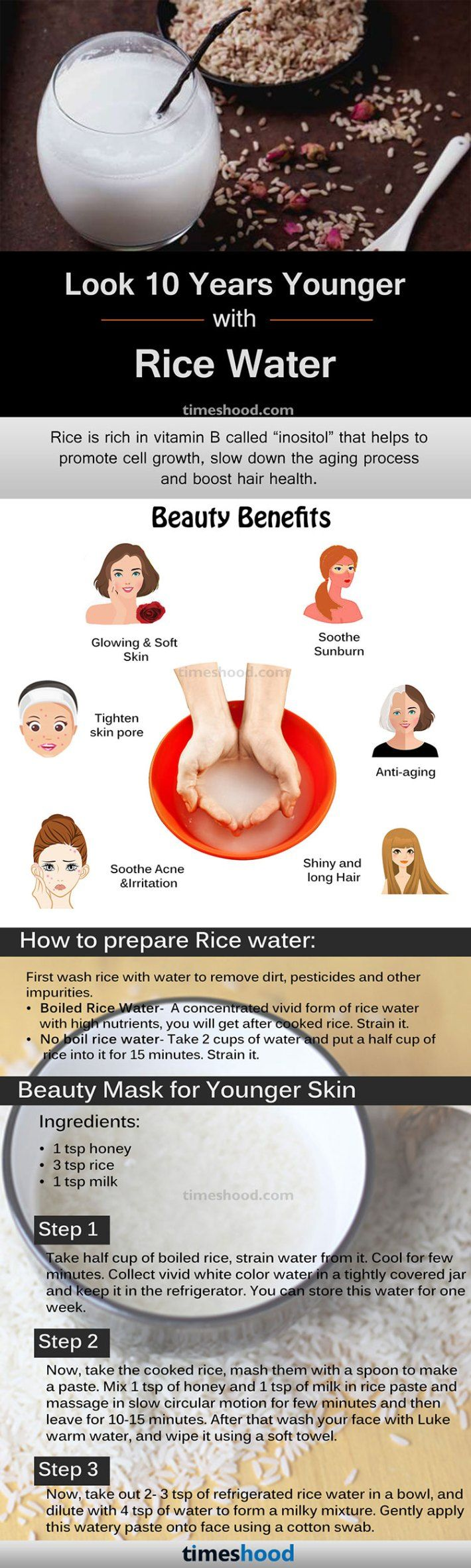 Rice Water Benefits How To Prepare For Skin And Hair Rice Water For Skin Care And Hair Growth Anti Aging Skin Products Rice Water Benefits Younger Skin