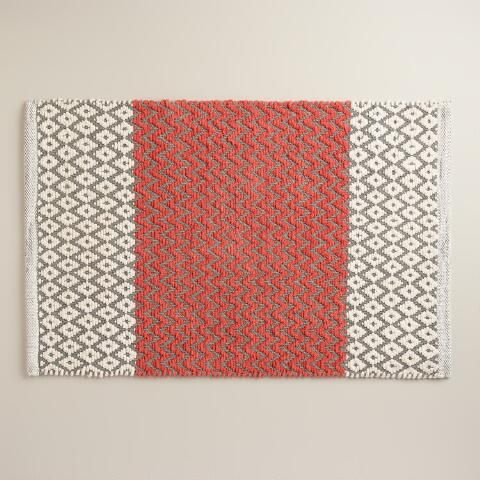 Coral And Frost Gray Chenille Diamond Bath Mat Bath Mat Diamond - Coral colored bath rugs for bathroom decorating ideas