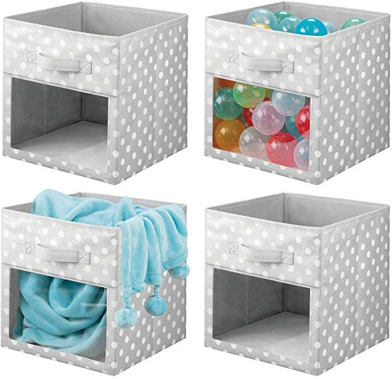 Amazon Com Mdesign Soft Fabric Closet Storage Organizer Cube Bin Box Clear Window And Handle For In 2020 Cube Storage Bins Storage Closet Organization Cube Storage