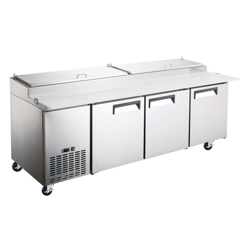Commercial 3 Door Refrigerated Pizza Prep Table 92 With 12 Pans