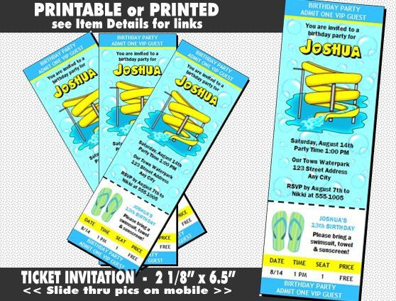 Water Park Ticket Invitation Printable with by PrintVillaInvites