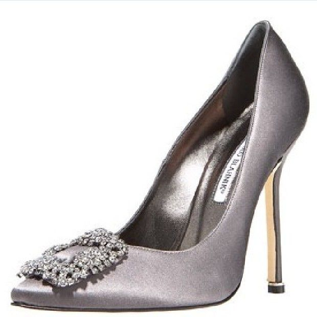 Gray Wedding Shoes Pumps Manolo Blahnik Hangis Jeweled Satin