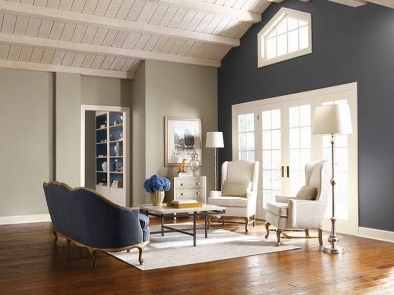 Best Steel Blue Steel Grey Accent Walls In Living Room 400 x 300
